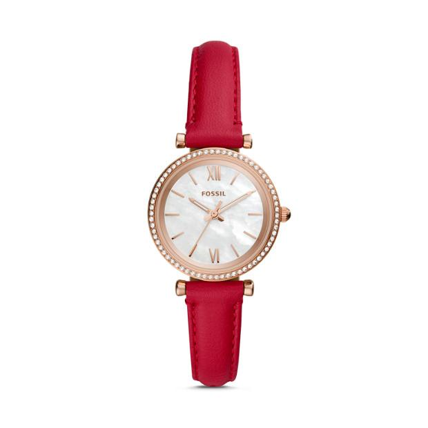 Fossil Carlie Mini Red Analogue Watch Watches Fossil