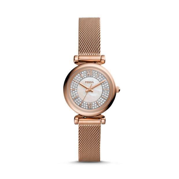 Fossil Carlie Mini Rose Gold-Tone Analogue Watch Watches Fossil