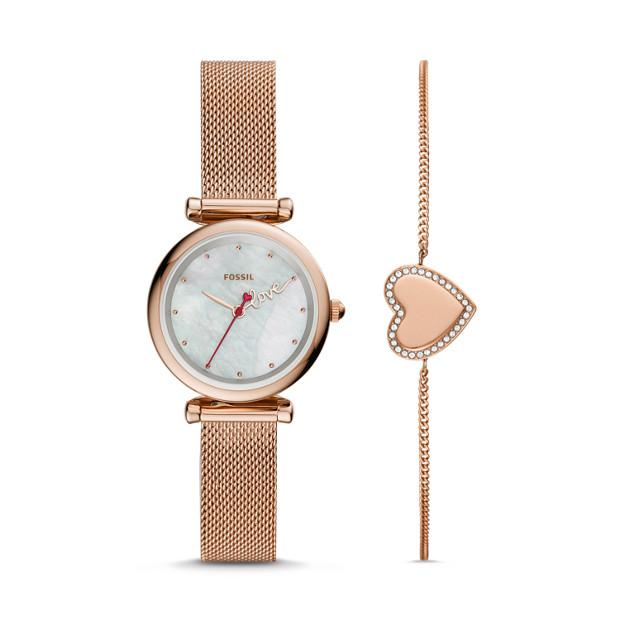 Fossil Carlie Mini Three-Hand Rose Gold Watch & Bracelet Gift Set ES4867SET Watches Fossil