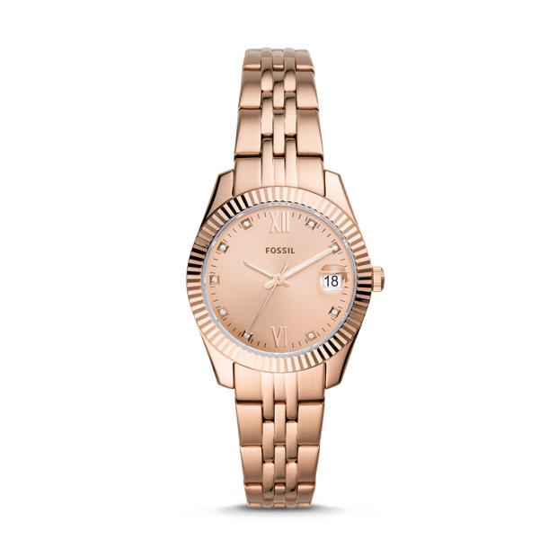 Fossil Scarlette Mini Rose Gold-Tone Analogue Watch Watches Fossil
