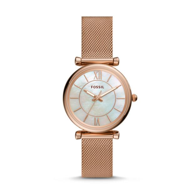 Fossil Carlie Rose Gold-Tone Analogue Watch Watches Fossil