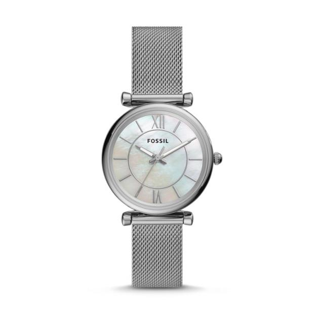 Fossil Carlie Silver-Tone Analogue Watch Watches Fossil
