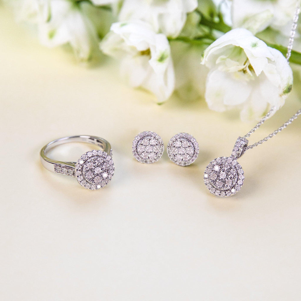 Brilliant Miracle Halo Earrings with 0.50ct of Diamonds in Sterling Silver Earrings Bevilles