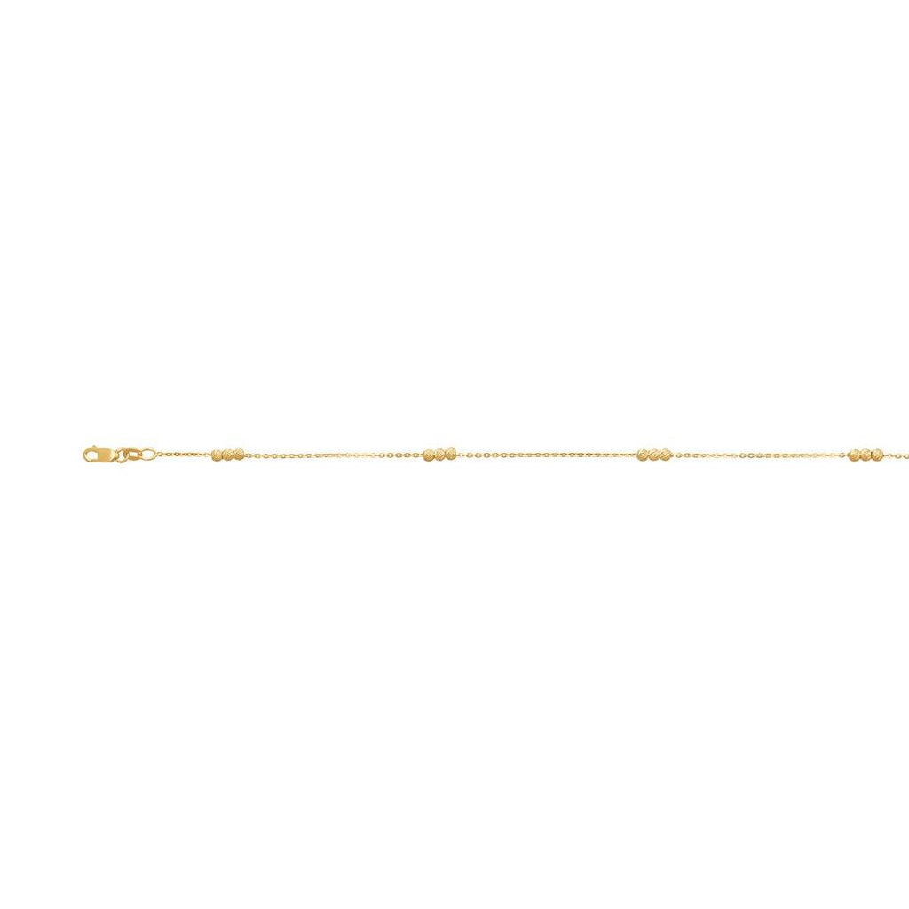 9ct Yellow Gold Silver Infused Cable Link Anklet 25cm Anklet Bevilles