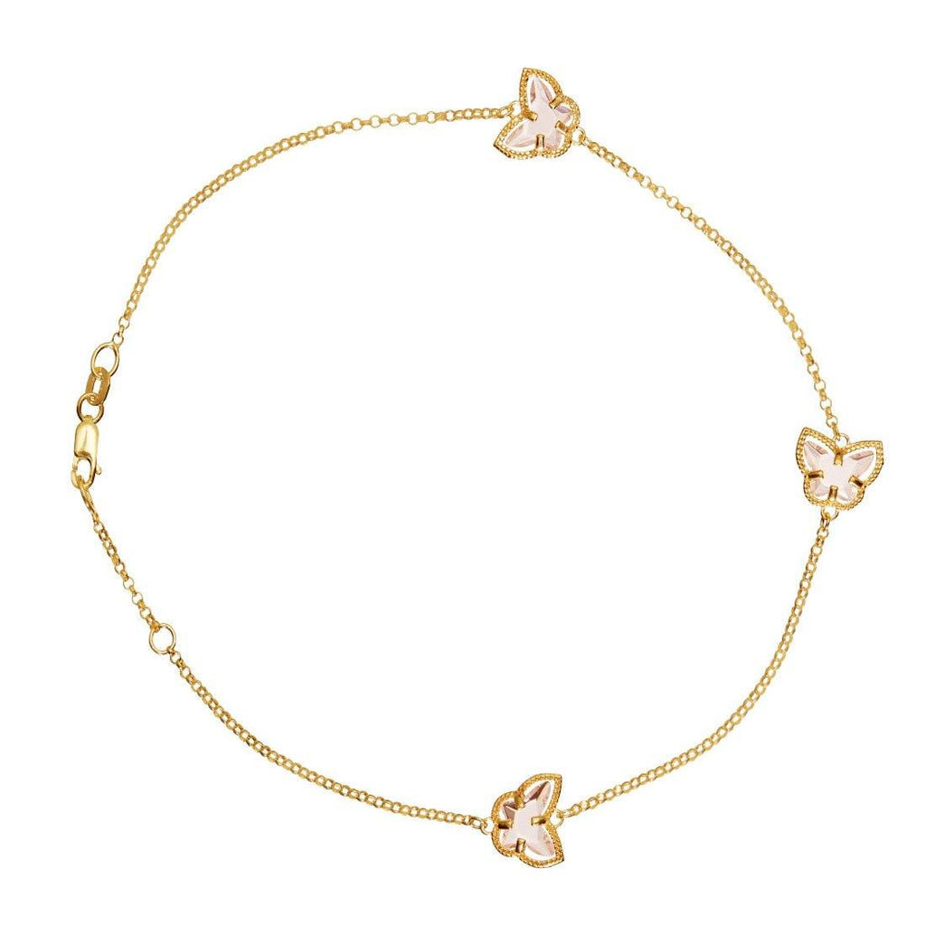 9ct Yellow Gold Pink Butterfly Anklet Anklet Bevilles
