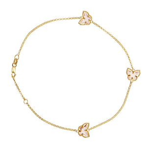 9ct Yellow Gold Pink Butterfly Anklet