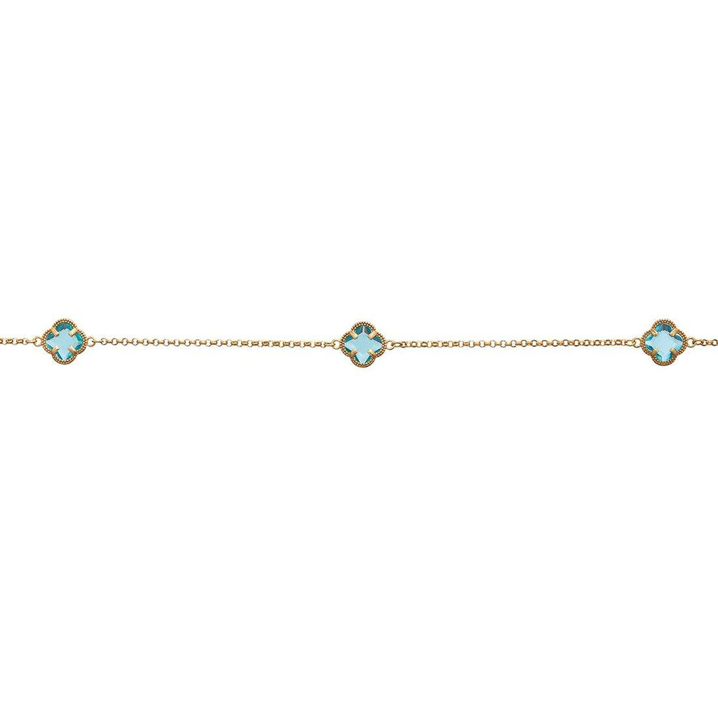 Blue 4 Leaf Clover Anklet in 9ct Yellow Gold Silver Infused Anklet Bevilles