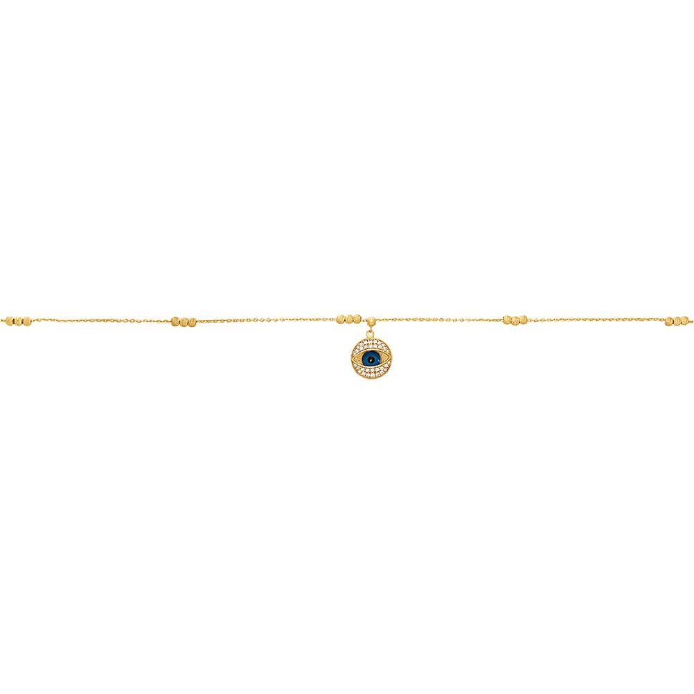 Evil Eye Anklet with Cubic Zirconia in 9ct Yellow Gold Silver Infused Anklets Bevilles