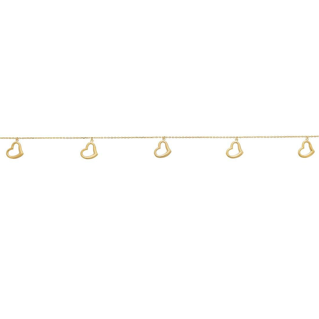 Open Heart Anklet in 9ct Yellow Gold Silver Infused Anklet Bevilles