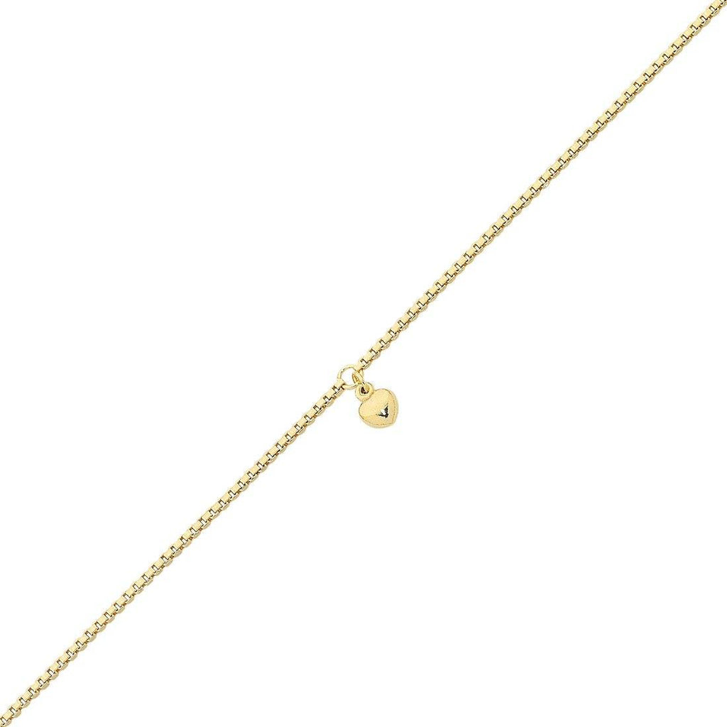 9ct Yellow Gold Silver Infused Anklet with Puff Heart