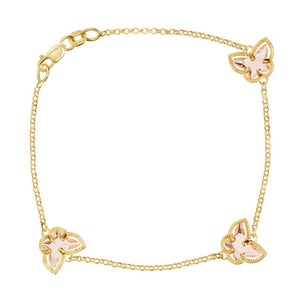 9ct Yellow Gold Silver Infused Pink Butterfly Bracelet
