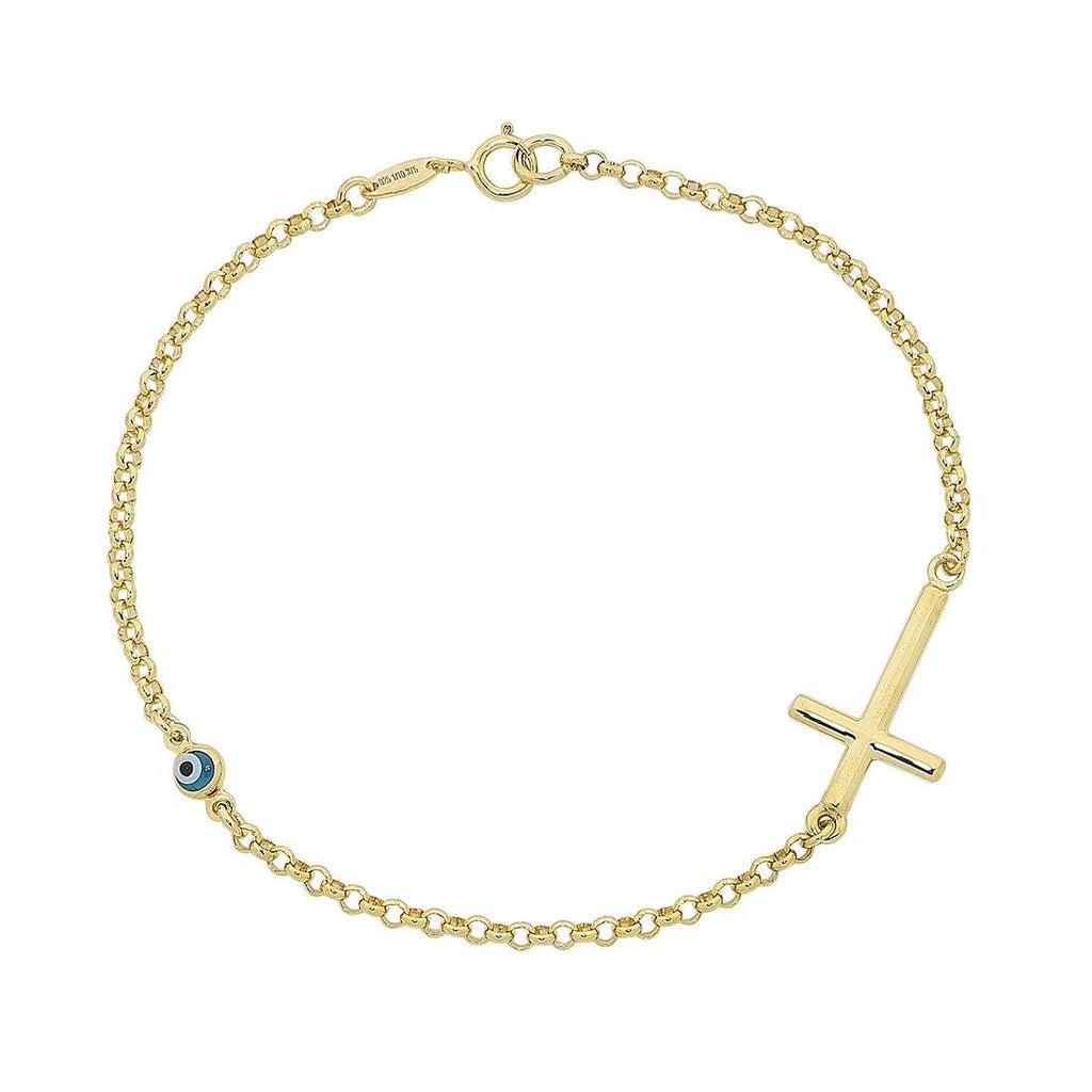 9ct Yellow Gold Silver Infused Cross & Evil Eye Bracelet