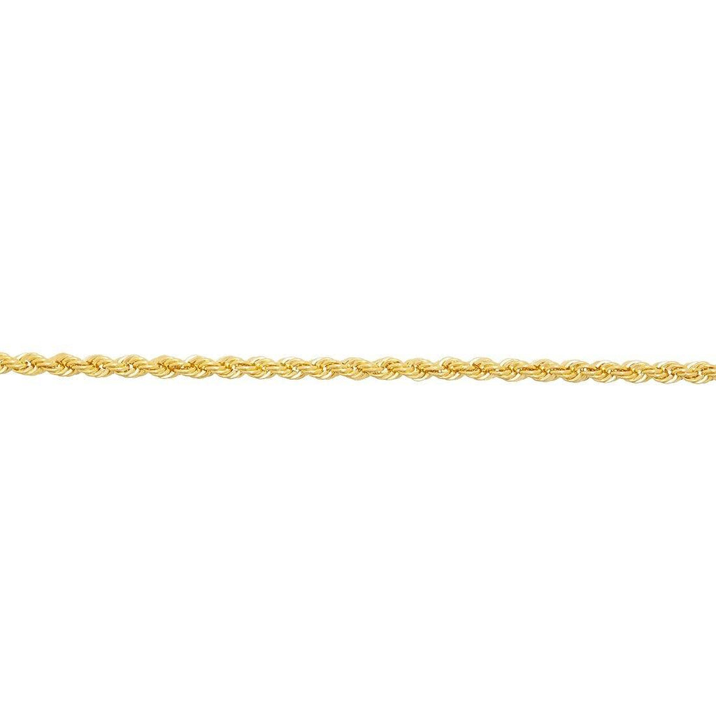 Rope Bracelet 19cm in 9ct Yellow Gold Silver Infused Bracelets Bevilles