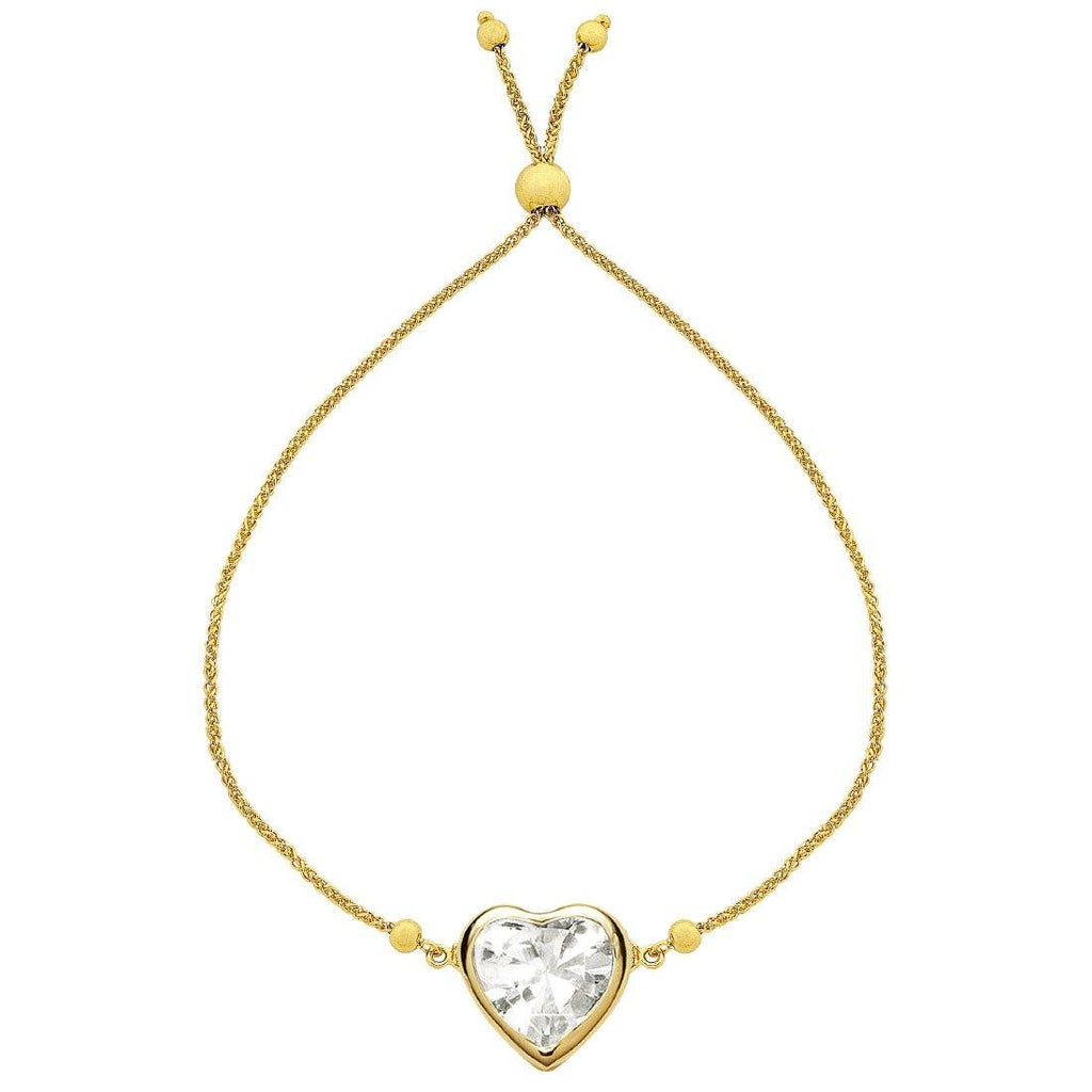 9ct Yellow Gold Silver Infused Cubic Zirconia Heart Tennis Bracelet