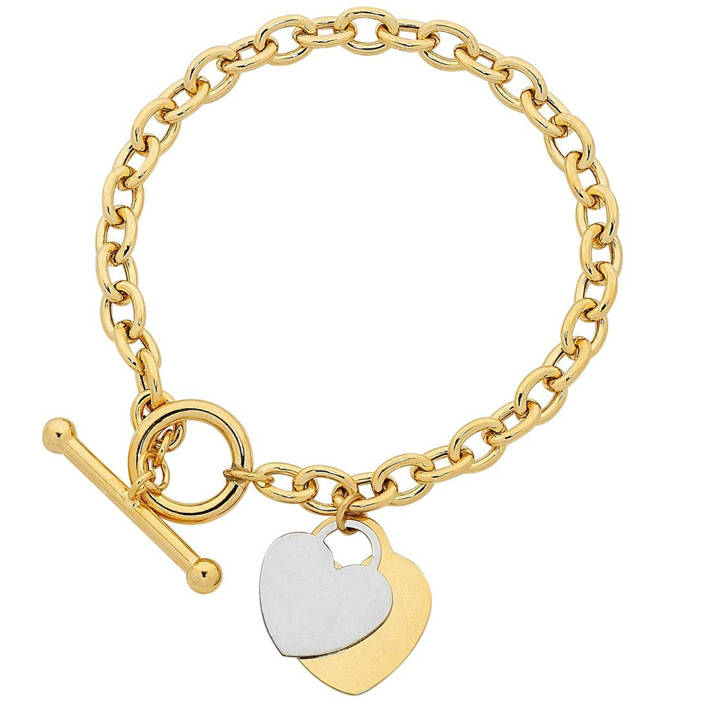 9ct Gold Silver Infused Belcher Bracelet With Heart Charms