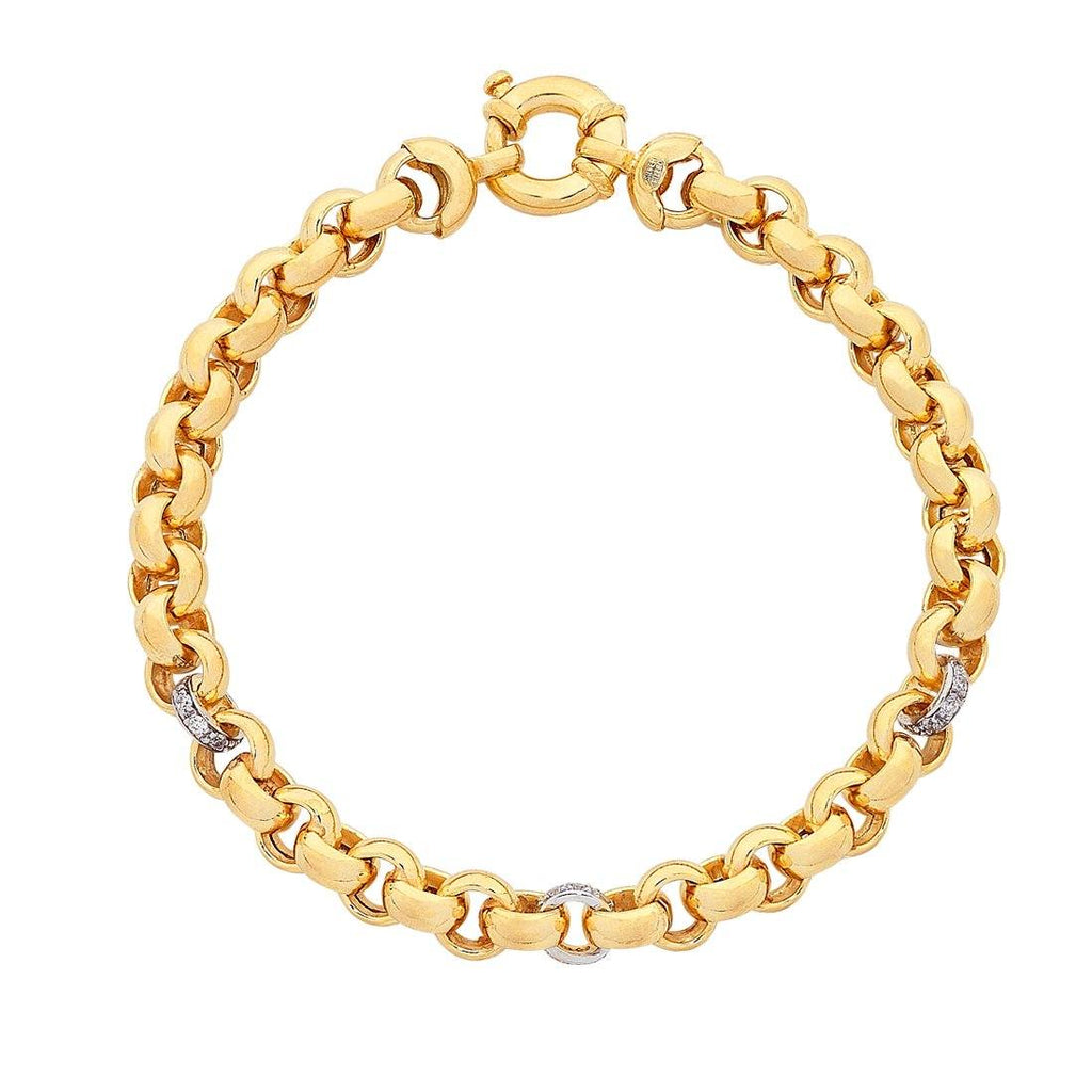 9ct Yellow Gold Silver Infused Belcher Bracelet Bracelets Bevilles