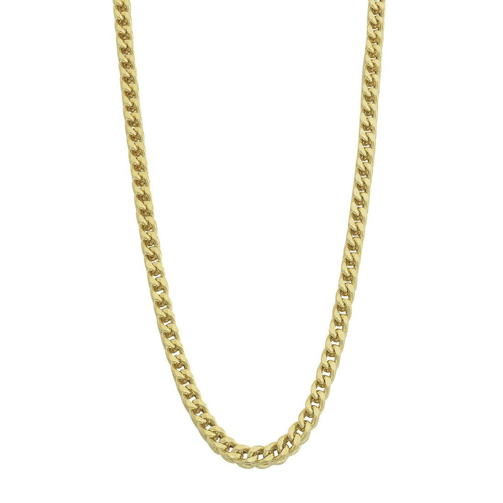 9ct Yellow Gold Silver Infused 4 Sided Curb Necklace 65cm Necklaces Bevilles