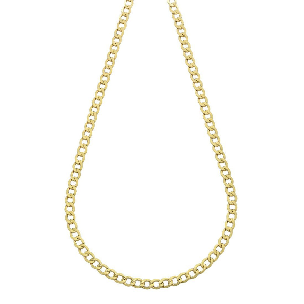 9ct Yellow Gold Silver Infused Open Curb Necklace 60cm Necklaces Bevilles