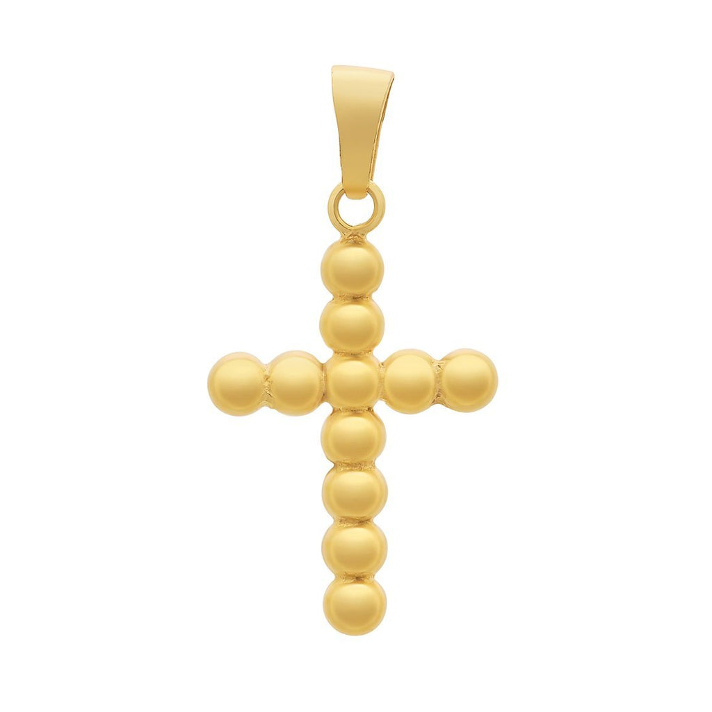 Round Ball Cross Pendant in 9ct Yellow Gold Silver Infused Necklaces Bevilles