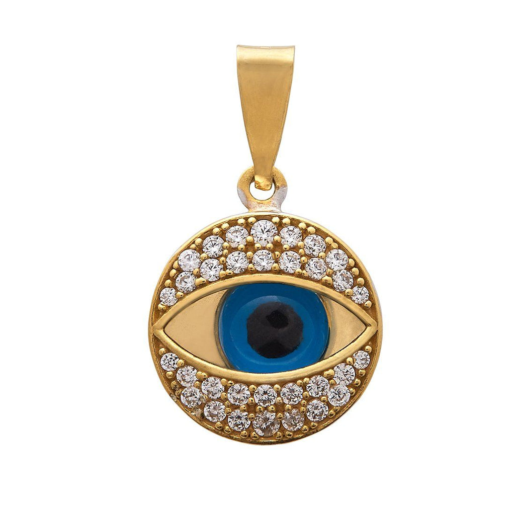 9ct Yellow Gold Silver Infused Evil Eye Pendant Necklaces Bevilles