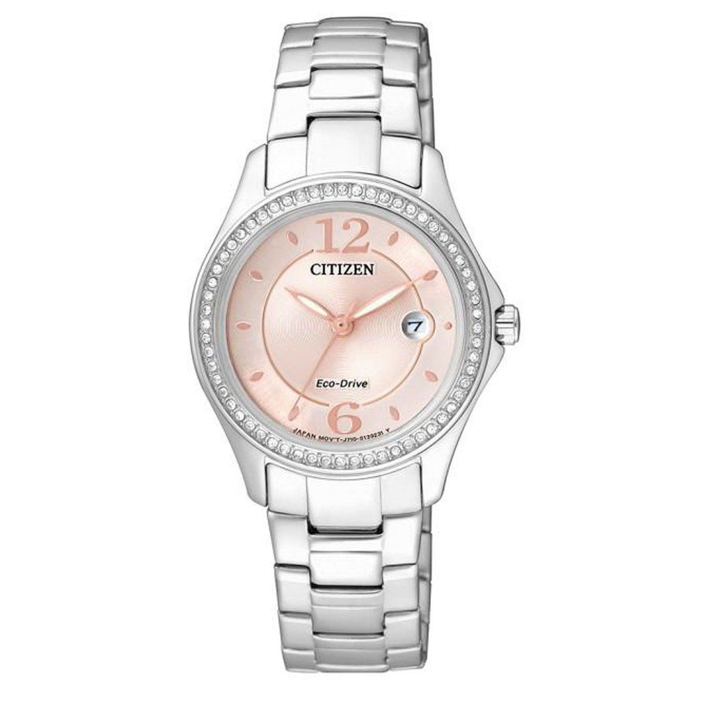 Citizen Eco Drive Crystal Rose & Silver Watch FE1140-51X