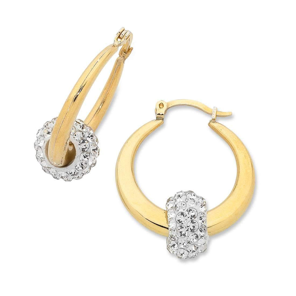 9ct Yellow Gold Silver Infused Cubic Zirconia Earrings 16mm