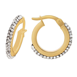 9ct Yellow Gold Silver Infused Crystal Round Hoop Earrings