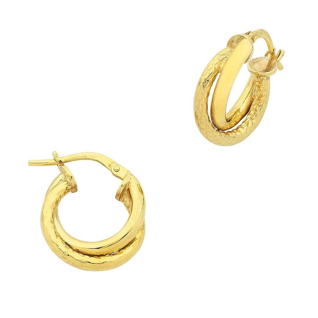 9ct Yellow Gold Silver Filled Double Hoop Earrings 10mm Earrings Bevilles