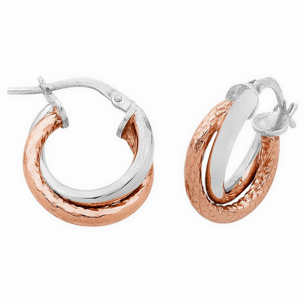 9ct Rose Gold Silver Infused Two Tone Hoop Earrings 15mm Earrings Bevilles