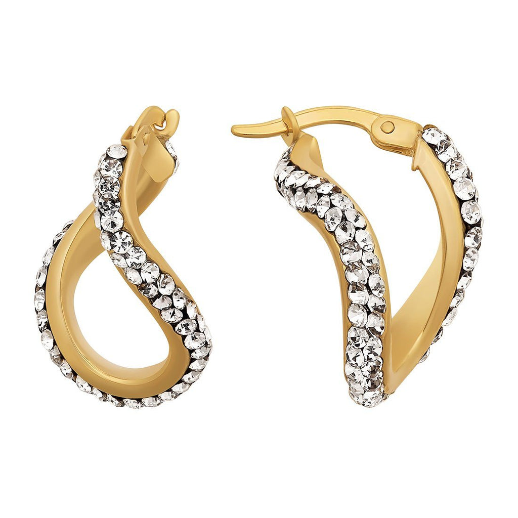 9ct Yellow Gold Silver Infused Crystal Oval Twist Hoop Earring Earrings Bevilles