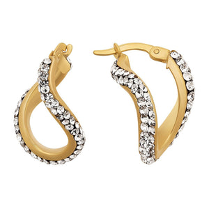 9ct Yellow Gold Silver Infused Crystal Oval Twist Hoop Earring