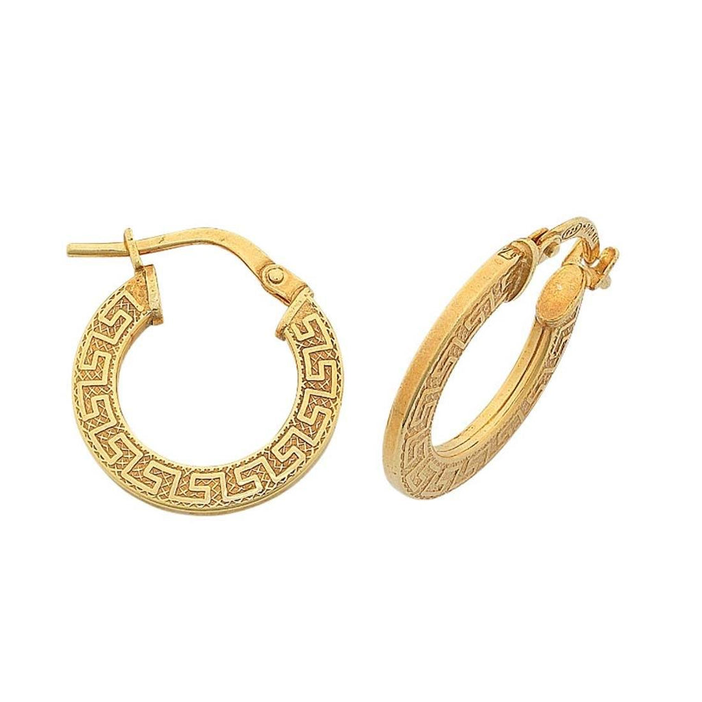 9ct Yellow Gold Silver Filled Greek Key Hoop Earrings 10mm