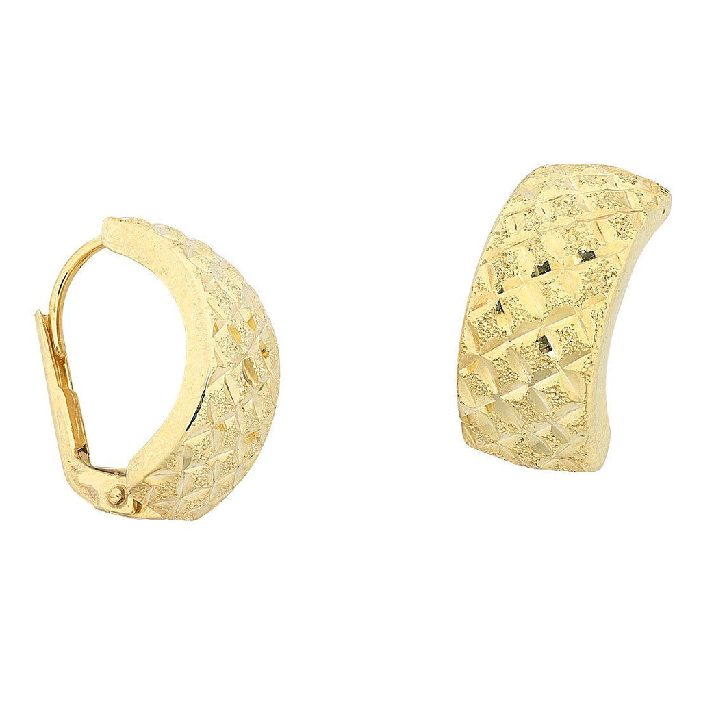9ct Yellow Gold Silver Infused Half Hoop Earrings Earrings Bevilles
