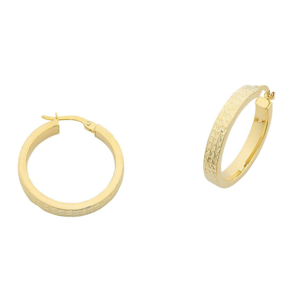 9ct Yellow Gold Silver Filled Diamond Cut Hoop Earrings