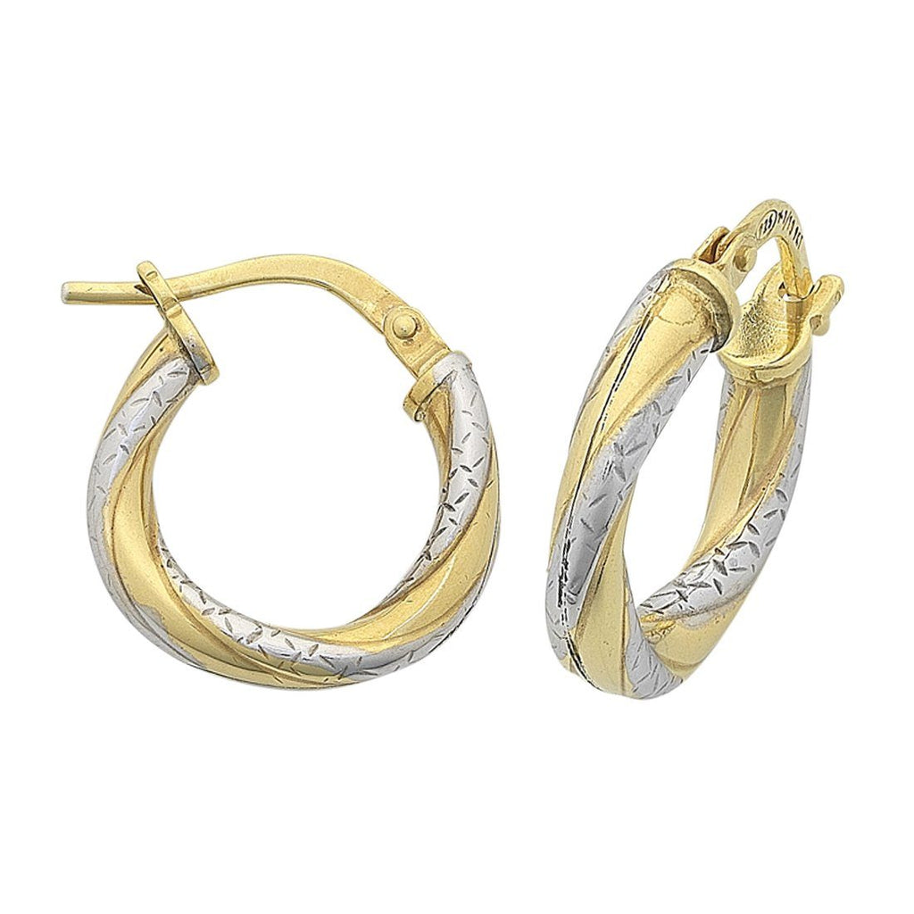 9ct Yellow Gold Silver Infused Two Tone Earrings 10mm