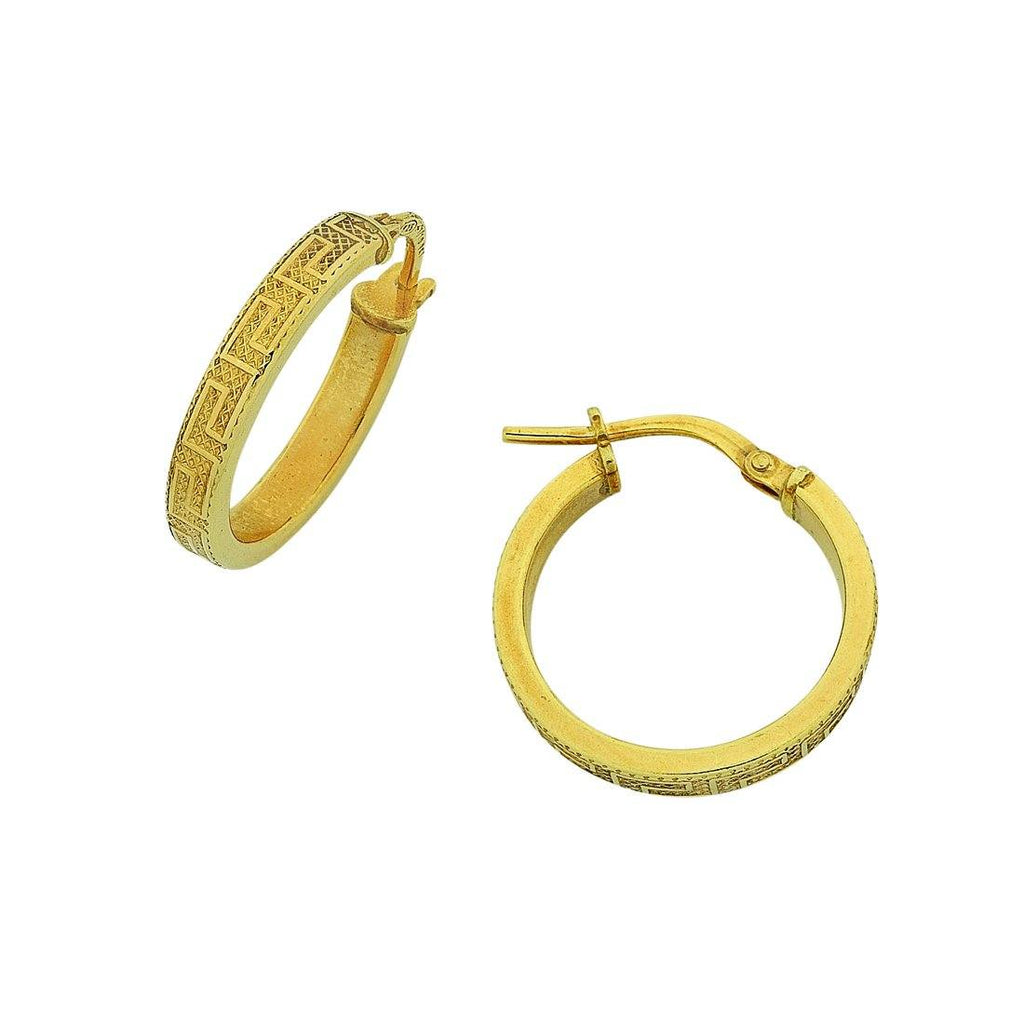 9ct Yellow Gold Silver Infused Greek Hoop Earrings 15mm Earrings Bevilles
