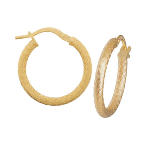Criss Cross Hoop Earrings 10mm in 9ct Yellow Gold Silver Infused