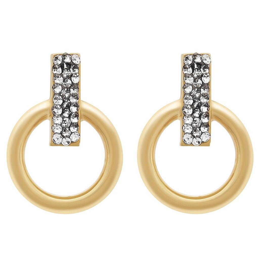 Crystal Bar Circle Hoop Earrings in 9ct Yellow Gold Silver Infused Earrings Bevilles