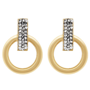 Crystal Bar Circle Hoop Earrings in 9ct Yellow Gold Silver Infused