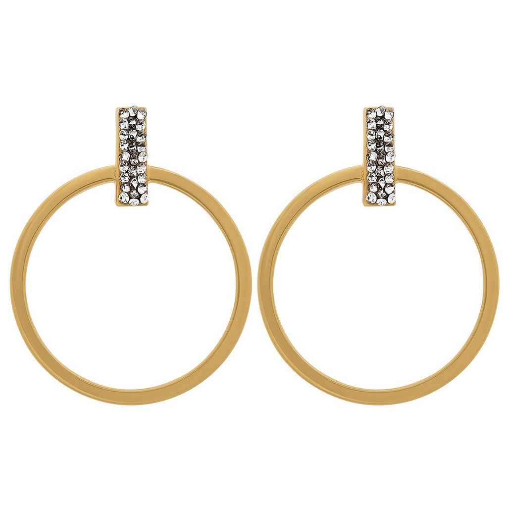 Crystal Bar Circle Large Hoop Earrings in 9ct Yellow Gold Silver Infused Earrings Bevilles