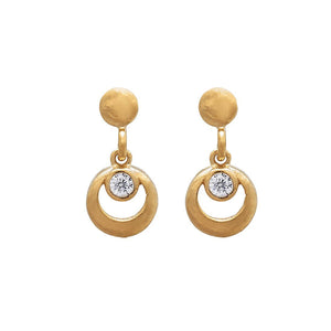 9ct Yellow Gold Silver Infused Circle Drop Earrings