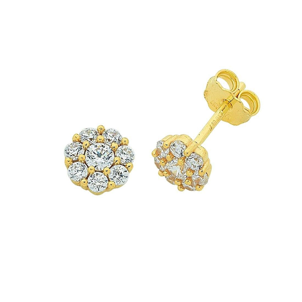 9ct Yellow Gold Silver Infused Cubic Zirconia Flower Stud Earrings
