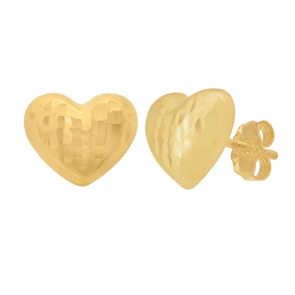 Puff Heart Earrings in 9ct Yellow Gold Silver Infused Earrings Bevilles