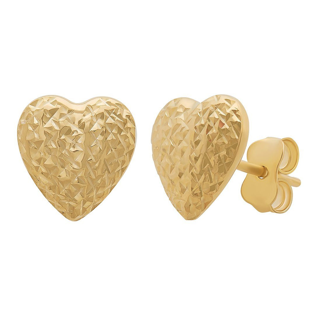 9ct Yellow Gold Silver Infused Heart Stud Earring Earrings Bevilles