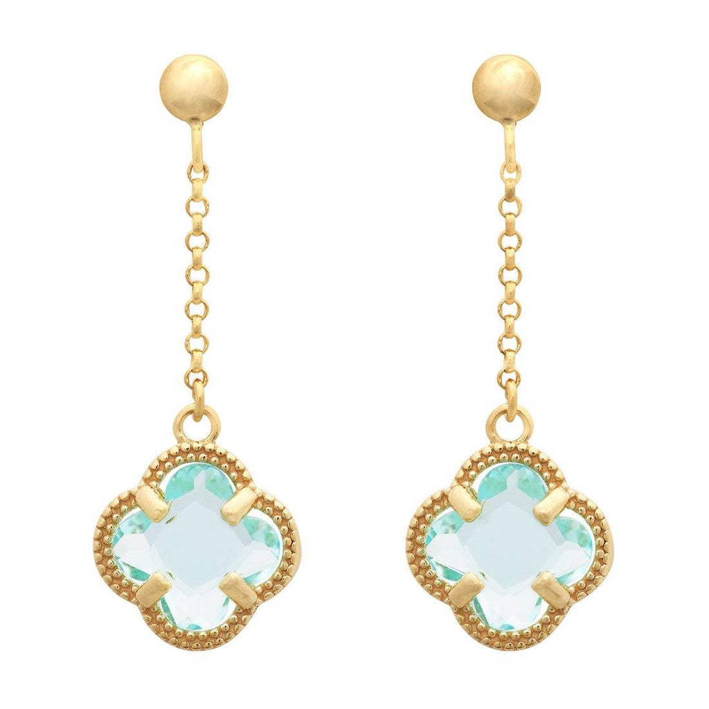 Blue 4 Leaf Clover Drop Earrings in 9ct Yellow Gold Silver Infused Earrings Bevilles