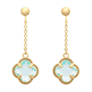 Blue 4 Leaf Clover Drop Earrings in 9ct Yellow Gold Silver Infused