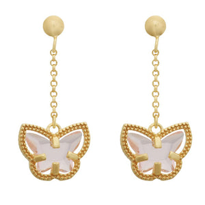 9ct Yellow Gold Pink Butterfly Drop Earrings