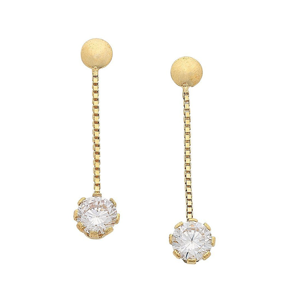 9ct Yellow Gold Silver Filled Round Cubic Zirconia Drop Earrings Earrings Bevilles