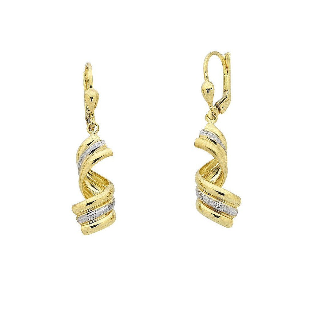 9ct Yellow Gold Silver Infused Two Tone Triple Swirl Drop Earrings