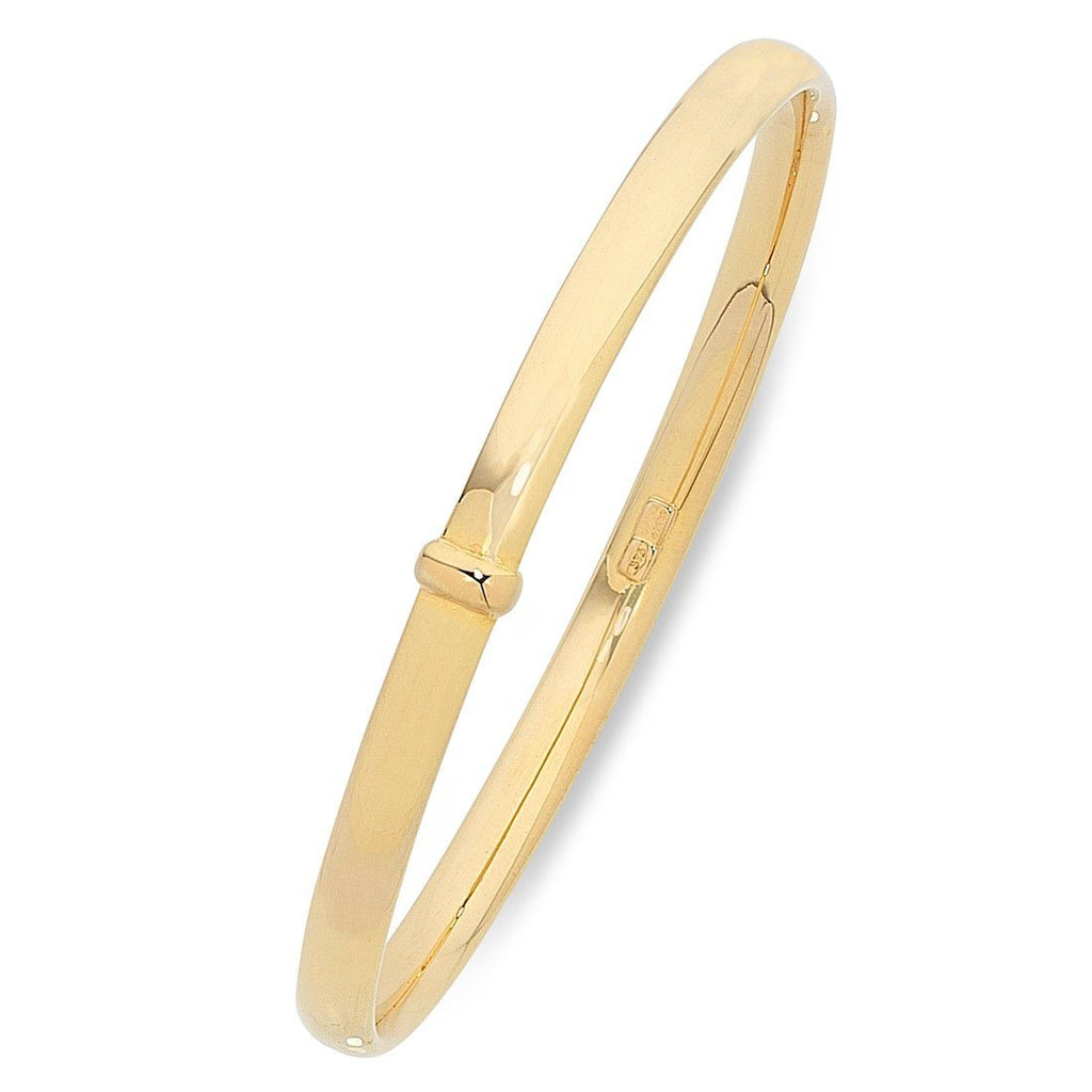9ct Yellow Gold Silver Infused Bangle 60mm Bracelets Bevilles